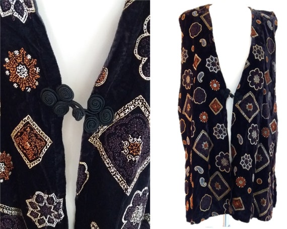Vintage Black Velvet With Gold & Silver Prints, Ve