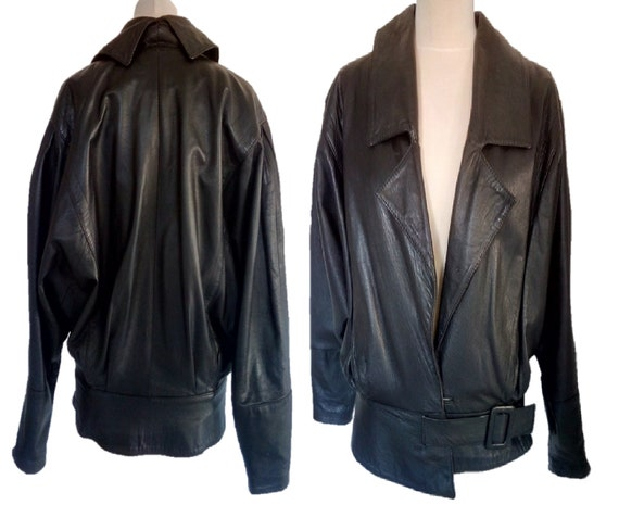 Black Leather Jacket, Vintage 80s