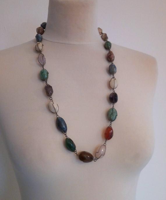 Vintage 1960'S Wire Wrapped Genuine Gemstones Neck