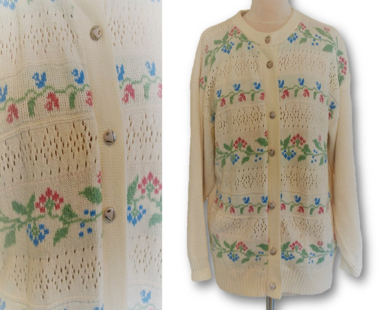 b46c374d734 Women's Floral Sweater, White Cardigan with Flowers, White Knitted Jumpers  Button Up Cardigan