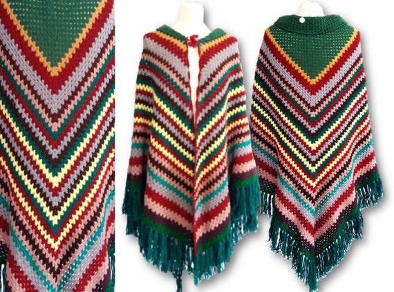 Colorfull Poncho Cape, Vintage 1970's Colorfull Kn