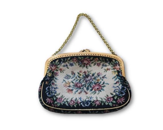 Vintage Vintage Floral Tapestry Mini Bag/Purse, Ta