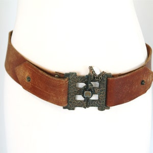 Statement Belt Cars Hardware Belt,1990s Brown Leather Belt Brown Leather Belt Vintage Dolce Vita Waist Belt Made in Italy