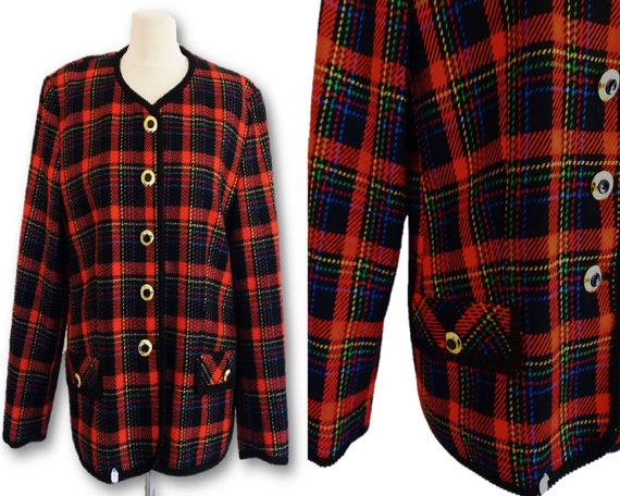 GERRY WEBER Women Plaid Blazer Jacket, Vintage 80s
