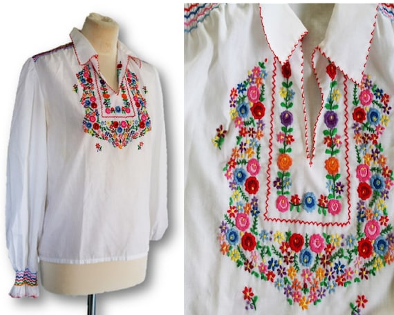 Vintage 1960s 70s Embroidered Blouse, Muhlebach Ha