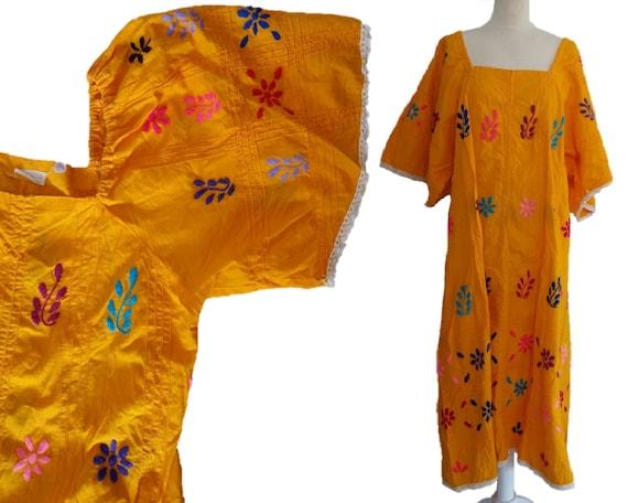 Mexican Floral Dress, Vintage 60s Embroidered Flor