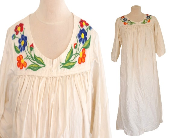 White Dress, Vintage 60s Handmade Embroidered Maxi