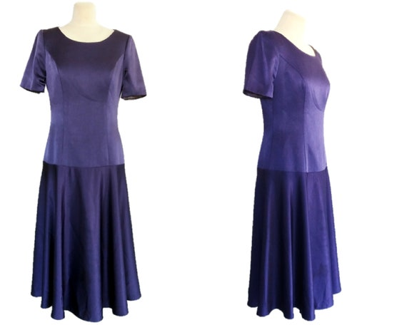 80's  Purple Dress, Evening Dress, Glossy Purple D