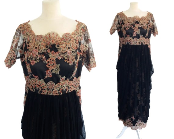 Vintage Black Beaded Embroidered Dress, Bohemian L