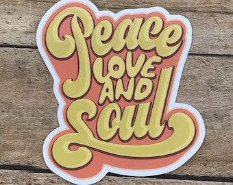 4e8b3a139 Peace Love and Soul Sticker | Disco 1970's Theme Decal