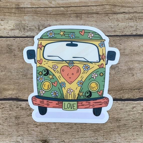 "4/"" VW Volkswagen Bus Vinyl Decal Choose Color Peace Love Van Hippie Sticker"
