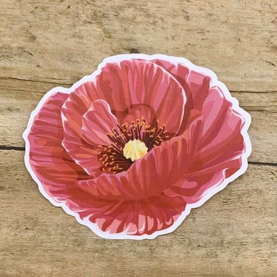 Vinyl Sticker Waterproof Decal Poppies Watercolor