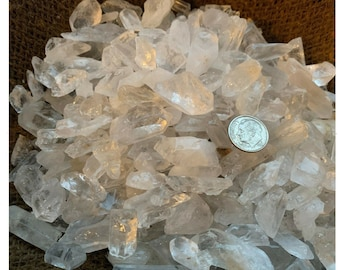 a FREE faceted gemstone SMALL 500 Carat Lots of Quartz Crystal Points