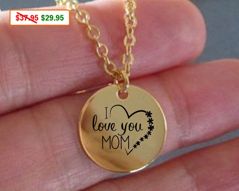 Mom Necklace I Love You Mom Gold Necklace is a Gift for Mom image 0