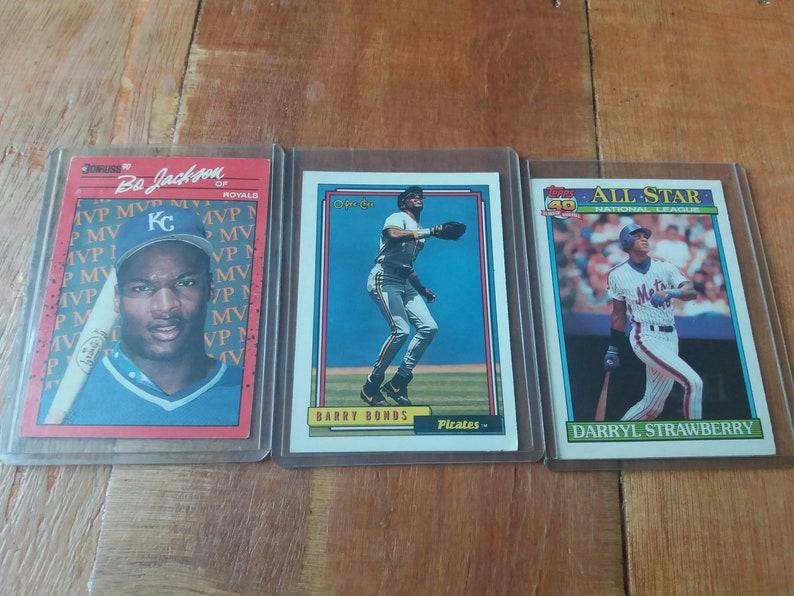 Bo Jackson Barry Bonds And Darryl Strawberry Baseball Cards