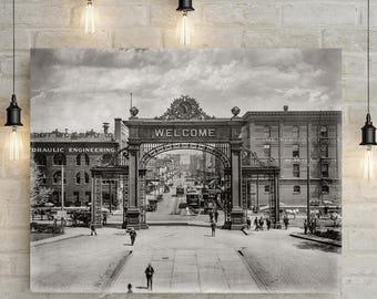 Old Denver Photo, Arch of Welcome, 17th St, Denver Colorado, Denver Colorado art print, Modern Farmhouse Art, 1908