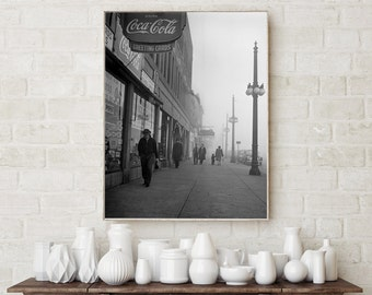 Chicago Photography, Foggy Afternoon, 1942, Chicago Sidewalk, Chicago Wall Decor, Home Decor, Art Print, Chicago black white prints, 1942