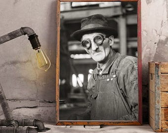 Steampunk Print, 1942, Steampunk Glasses, Steampunk Decor, Jack Delany, Factory Worker, Black White Photographs, Old Photo