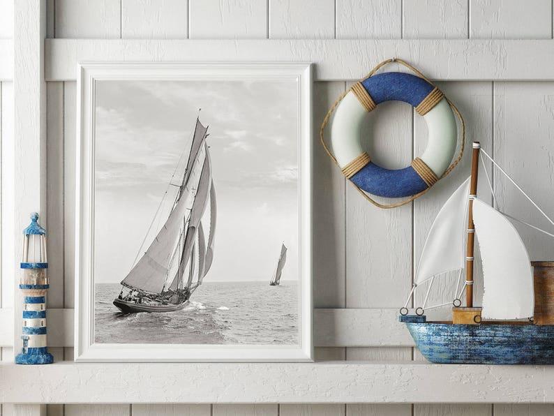 Goélette Photo, Nouvelle Angleterre, Photographie noir et blanc, la course  des pêcheurs pour Lipton Cup, maison décoration murale, décor côtier
