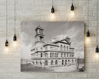 Old Memphis TN Photo, Custom House and Post Office, Memphis Tennessee Historical Photo, Wall Art, Home Decor, Black White, Early 1990s