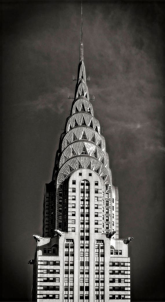 NYC Chrysler Building Photo Art Deco Architecture Black And