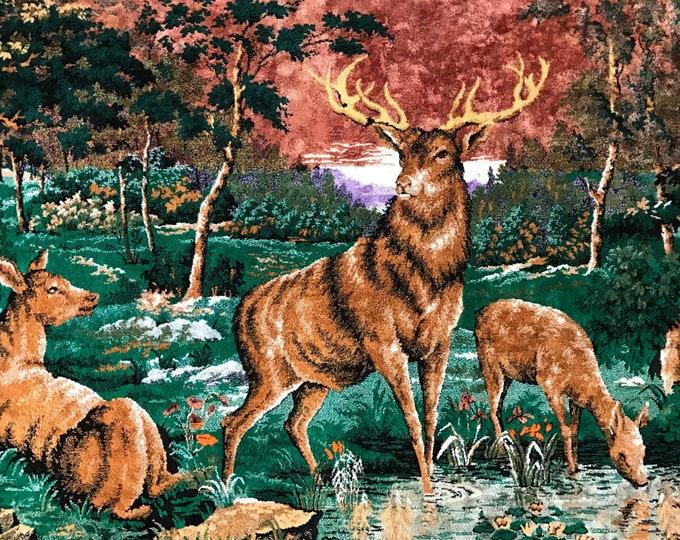 "Vintage Deer Tapestry   Forest Sunset Deer Scene   Tapestry   Wall Hanging   Rug   Italy   67"""