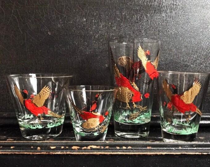Vintage Pheasant Drinking Glasses | Gold & Red Pheasants | Midcentury | Barware | Set of 4