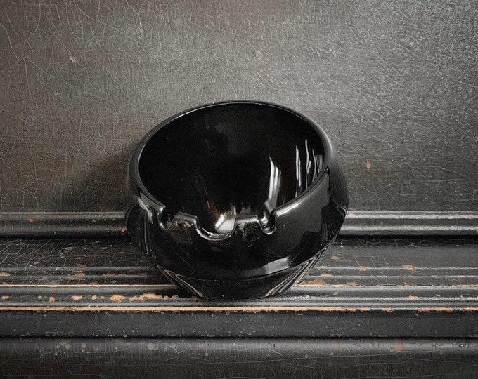 Vintage Glass Orb Ashtray   Viking Art Glass   Chestnut Brown   Tobacciana   Large