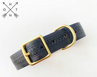Vintage Leather Dog Collar   Distressed Leather   Made From Vintage Belt   Black Leather   Brass Hardware   Large