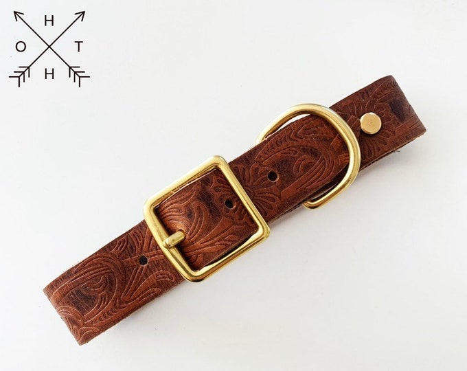 Leather Dog Collar | Distressed Leather | Made From Vintage Belt | Western Design | Brass Hardware | Large
