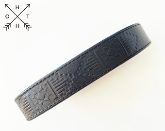 Vintage Leather Dog Collar   Distressed Leather   Made From Vintage Belt   Navajo Design   Brass Hardware