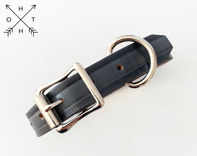 Leather Dog Collar | Distressed Leather | Made From Vintage Belt | Black & Grey Leather | Silver Tone Hardware | Medium