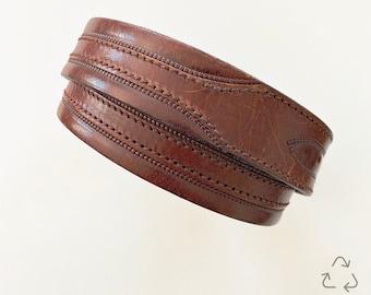 Vintage Leather Dog Collar   Distressed Leather   Made From Vintage Belt   Burgundy Leather   Brass Hardware   Custom Size