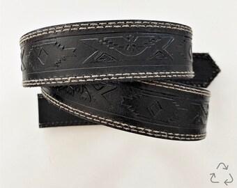 Vintage Leather Dog Collar | Distressed Leather | Made From Vintage Belt | Black Leather | Brass Hardware | Custom Size
