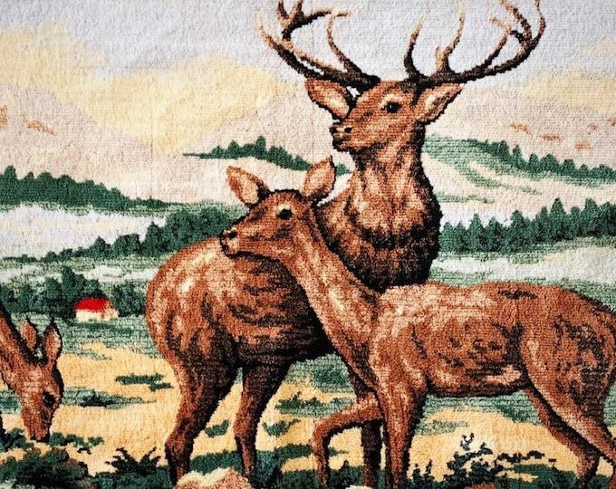 "Vintage Deer Tapestry | Mountain Forest Deer Scene | Tapestry | Wall Hanging | Rug | Italy | 65"""