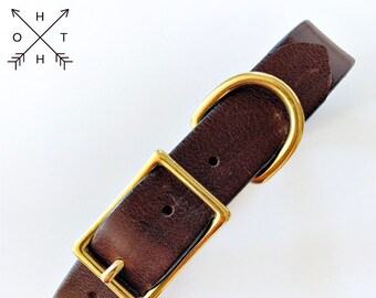 Leather Dog Collar | Distressed Leather | Made From Vintage Belt | Burgundy Leather | Brass Hardware | Medium