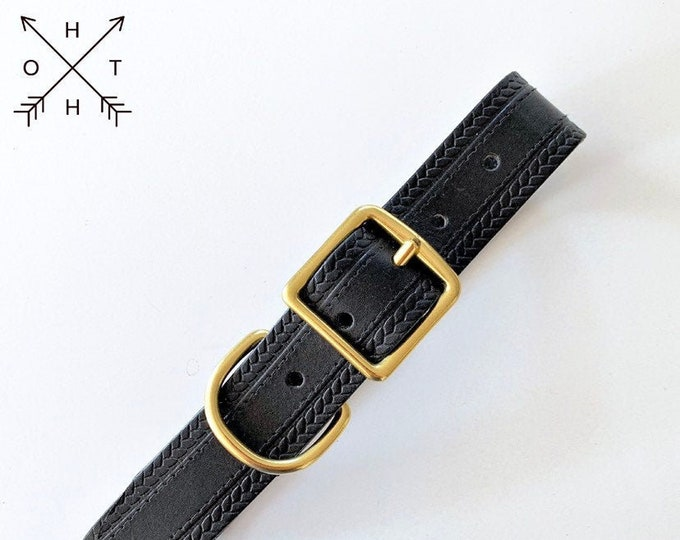 Leather Dog Collar | Distressed Leather | Made From Vintage Belt | Black Leather | Brass Hardware | Large
