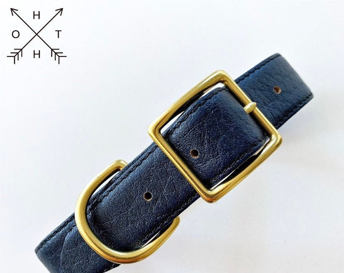Leather Dog Collar | Distressed Leather | Made From Vintage Belt | Black & Blue Leather | Brass Hardware | Small