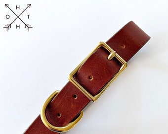 Leather Dog Collar | Distressed Leather | Made From Vintage Belt | Orange Leather | Brass Hardware | Medium