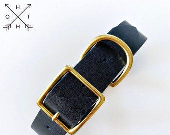 Leather Dog Collar | Distressed Leather | Made From Vintage Belt | Navy Leather | Brass Hardware | Small