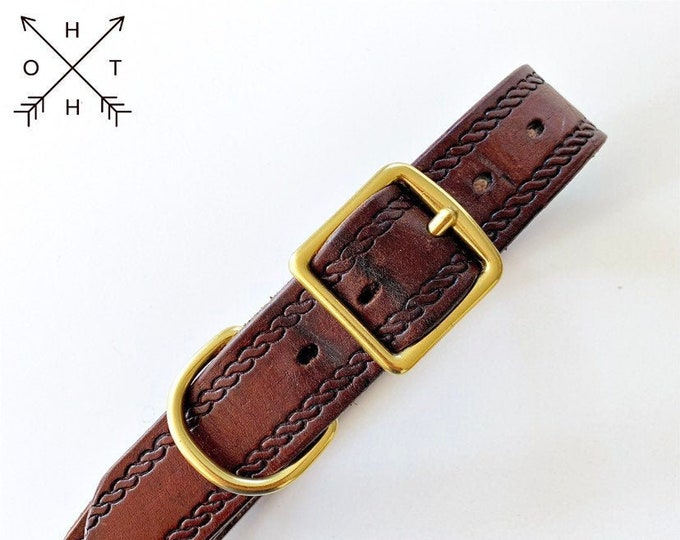Leather Dog Collar | Distressed Leather | Made From Vintage Belt | Burgundy Leather | Brass Hardware | Large