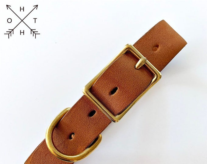 Leather Dog Collar | Distressed Leather | Made From Vintage Belt | Tan Leather | Brass Hardware | Medium