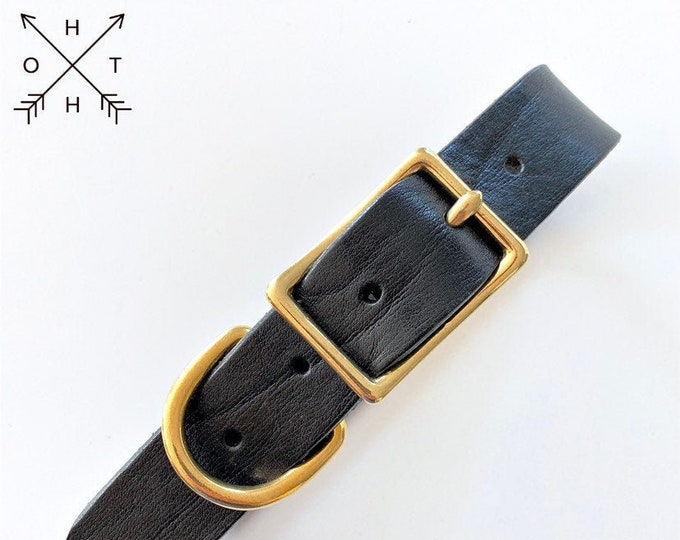Leather Dog Collar | Distressed Leather | Made From Vintage Belt | Black Creased Leather | Brass Hardware | Large