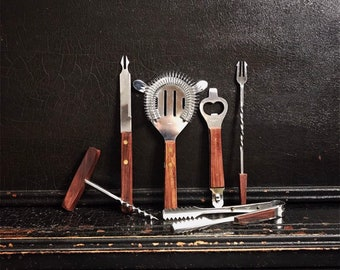 Vintage Barware Set   Barmates   Bar Utensils   Wood Handles