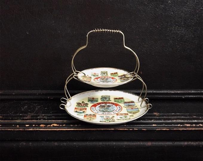 Vintage Two-Tier Decorative Tray | Souvenir Plates | Canadian Provinces | Valet Tray | Canadian Souvenir