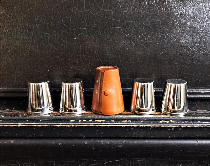 "Vintage Stirrup Cups | Shot Glasses | Leather Case | Travel Cups | Barware | Germany | 2"""