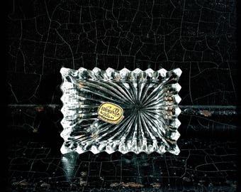 Vintage Ashtray Box Set | Ring Tray | Personal Ashtray Bohemia Glass | Czechoslovakia | Set Of 4
