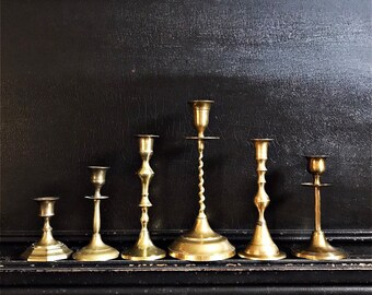 """Vintage Candlestick Holders   Candlesticks   Eclectic Set Of 6   Brass   3.5 - 9 7/16"""""""
