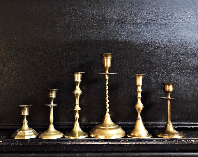 Vintage Candlestick Holders | Candlesticks | Eclectic Set Of 6 | Brass | 3.5 - 9 7/16""