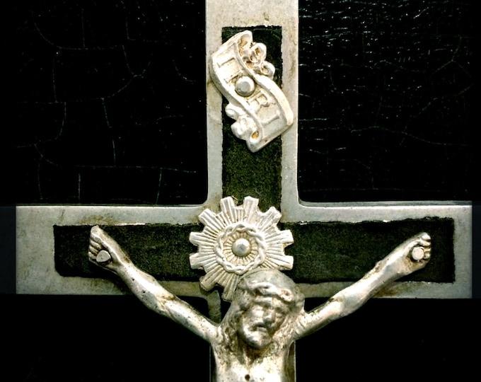 "Antique Pectoral Cross   Crucifix   Inlaid Ebony   Skull And Crossbones   6.5"""